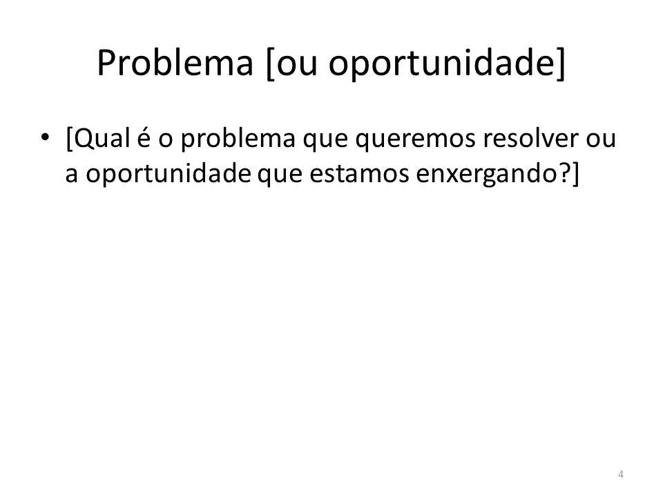 Problema [ou oportunidade]